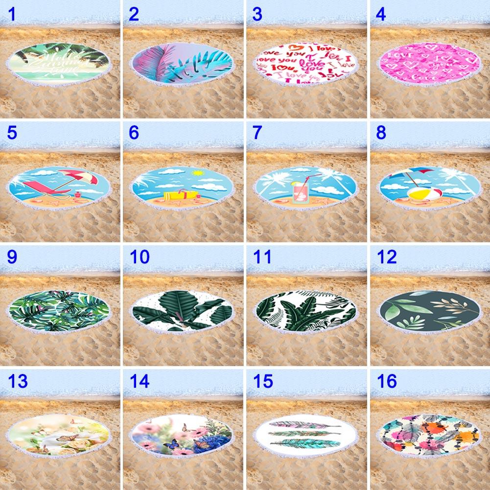 Quick-seco Rodada Colorido Floral Impressão Toalha de Praia com Borla YA88