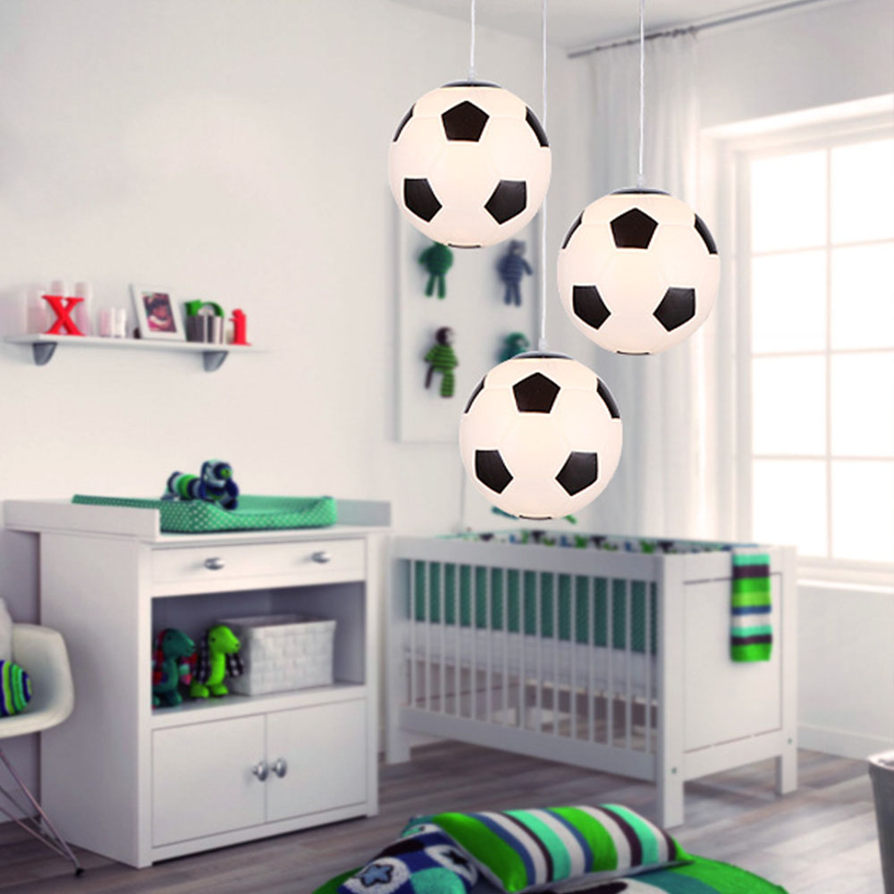 Modern Football Basketball Globe Glass Ball Pendant Lights Led Sport Hanging Lamps Children's Room Bedroom Indoor Lighting Decor