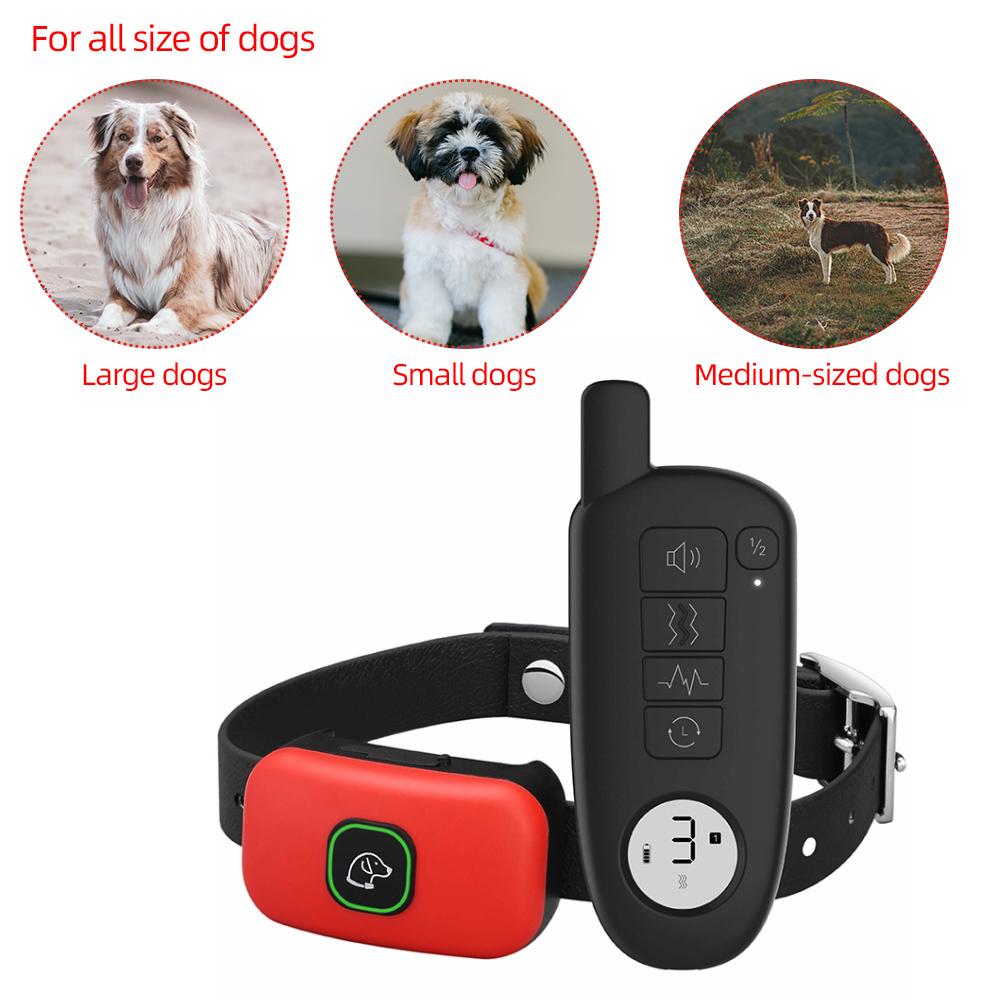 1000ft Range Dog Training Collar Waterproof Electric Shock Vibration Sound Dogs Bark Collar for Small Medium Large Dogs Trainer-5