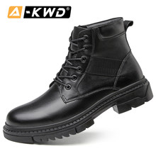 Mode Herfst Enkele Laarzen Heren Botas Black De Invierno Lace-up Snowboots Mannen Echt Leer Winter Laarzen Mannen plus Size 39-48(China)