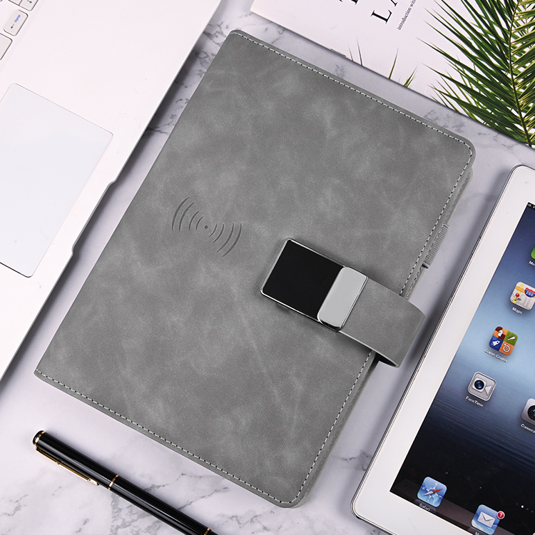 Luxury Leather Paper Screen Synchronization Function Notebook Wireless Charging Power Bank Notebook With Digital Password Lock