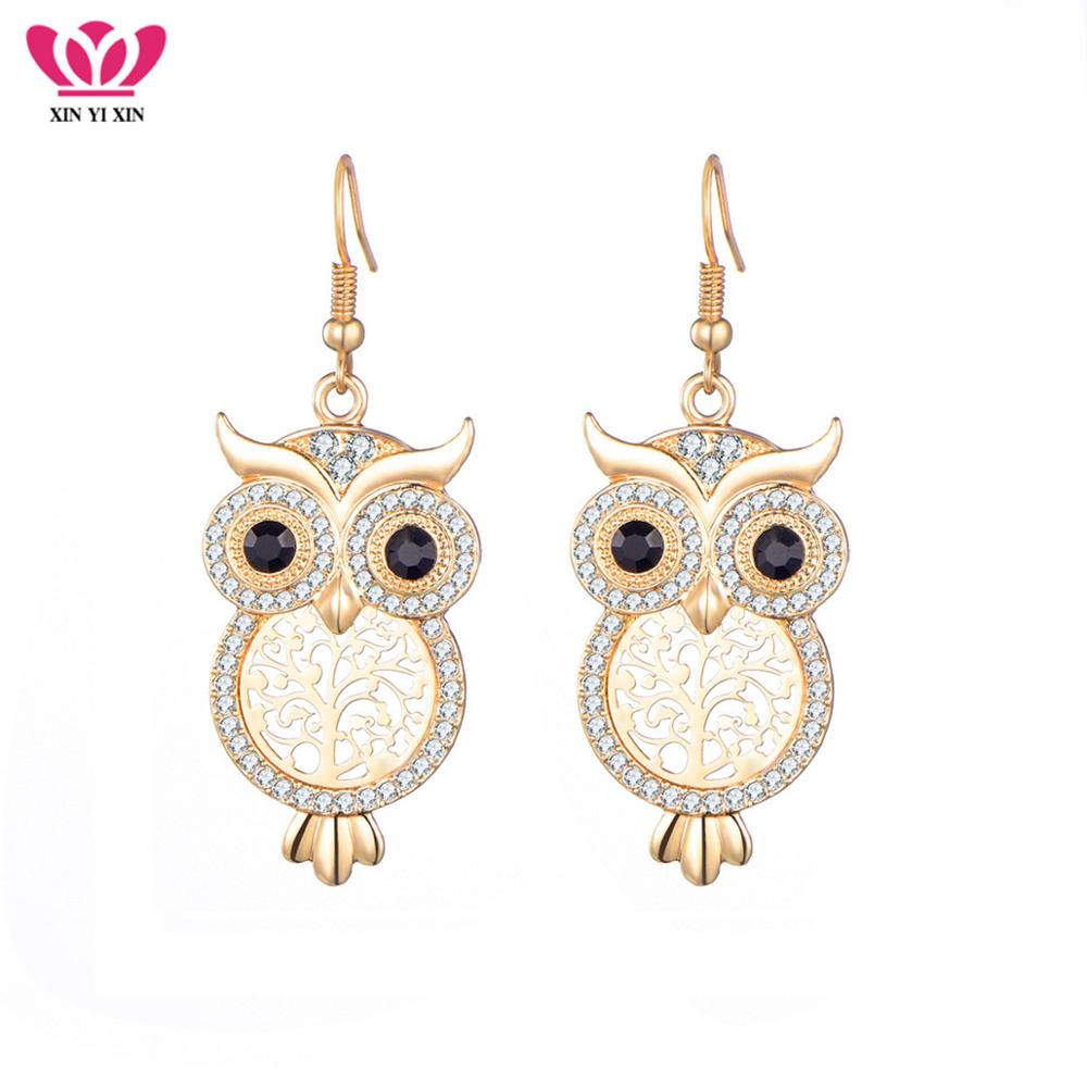 Vintage Crystal Owl Tree of Life Earring Women Gold Hollow Tree Drop Earrings Femme Pendiente Fashion Jewelry Dropshipping 2018