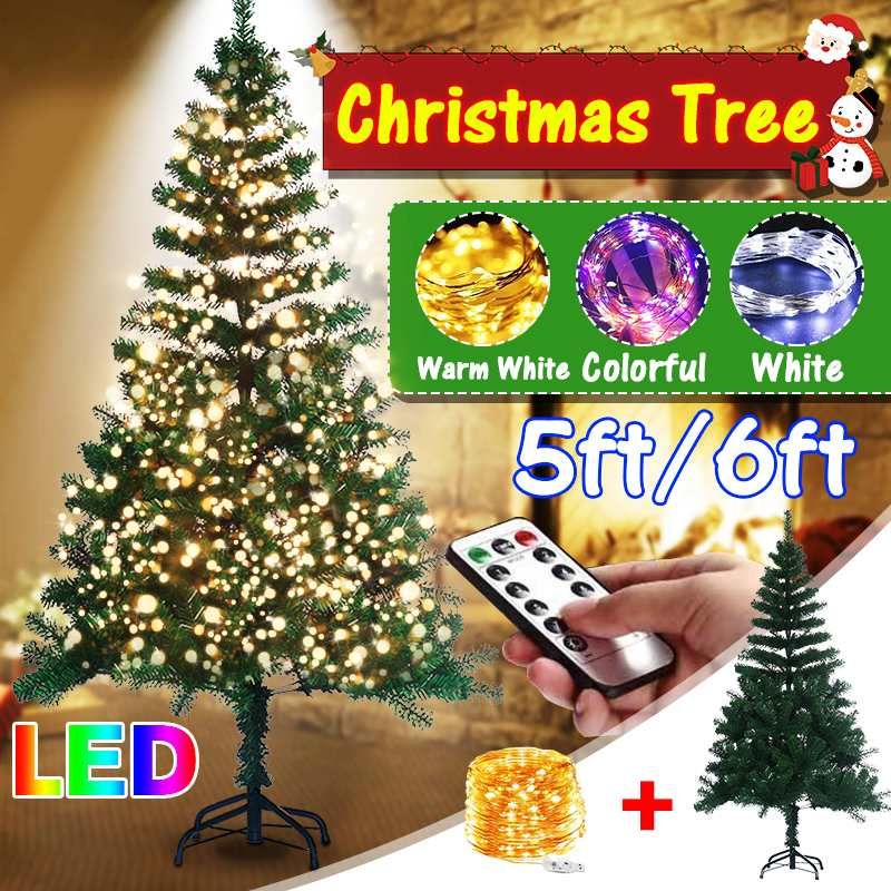 FAIRY LIGHTS 6FT 180CM GREEN ARTIFICIAL CHRISTMAS XMAS TREE HINGED BRANCHES