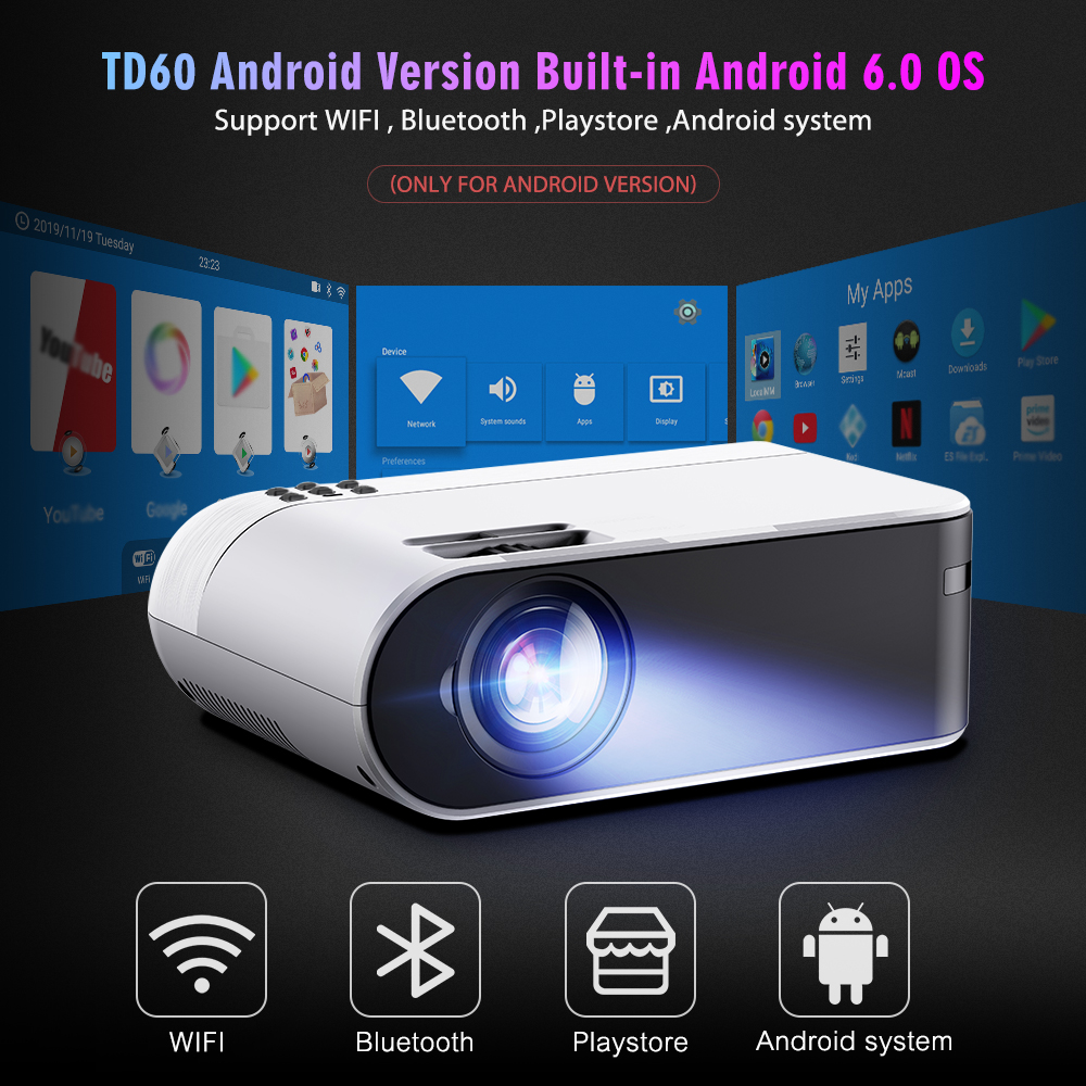 ThundeaL Mini Projector TD60 Support Full HD 1080P Video LED WiFi Android Beamer Link Phone 3D Home Theater Portable Projector-1