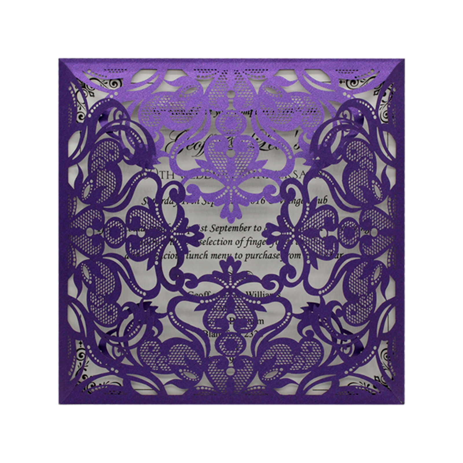 10 Kits Purple Elegant Laser Cut Wedding Invitation Cards Greeting Card Customize Business With Rsvp Cards Decor Party Supplies
