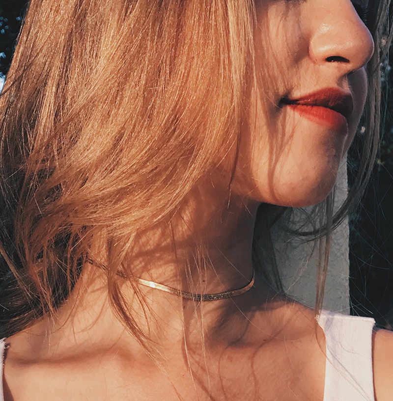 Nowy Punk Chokers naszyjniki dla kobiet cekiny proste płaskie ostrze wąż kołnierz naszyjnik złoty srebrny biżuteria #247801
