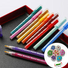Set of 12 Acrylic Paint Pens 3mm Extra Fine Point Water Based Markers Pen for Glass Ceramic DIY Colorful Scrapbooking Tool