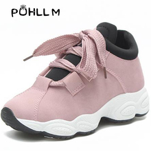 PUHLLM Women sneakers flock sewing thick bottom lace up bow casual Sneakers  Sports Shoes Female Korean Version of the Wild BoB5