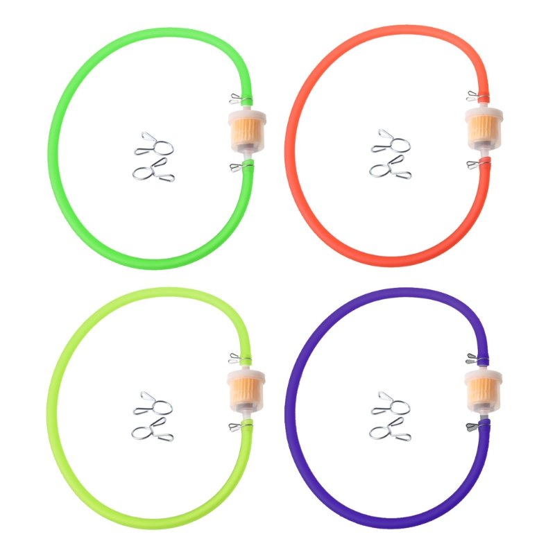 New 6mm Gas Fuel Filter Petrol Pipe Hose Line + 4 Clips Moto Scooter Dirt Bike