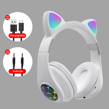 M2 Bluetooth 5.0 Headphones Headset Earphone Cat Kitty Earphone LED Noise Cancelling Music Wireless Headphones with mic