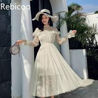 Spring Autumn Women dress Flare Sleeve Patchwork Mesh Turtleneck Half A High end French Lace Dresses Blue Apricot