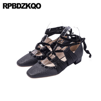 japanese rivet tie up black women square toe ladies low heels shoes block glitter pink pumps lace cross strap strappy silk stud