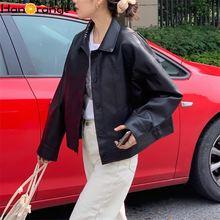Мотоциклетная куртка из искусственной кожи Женская осенне Весенняя