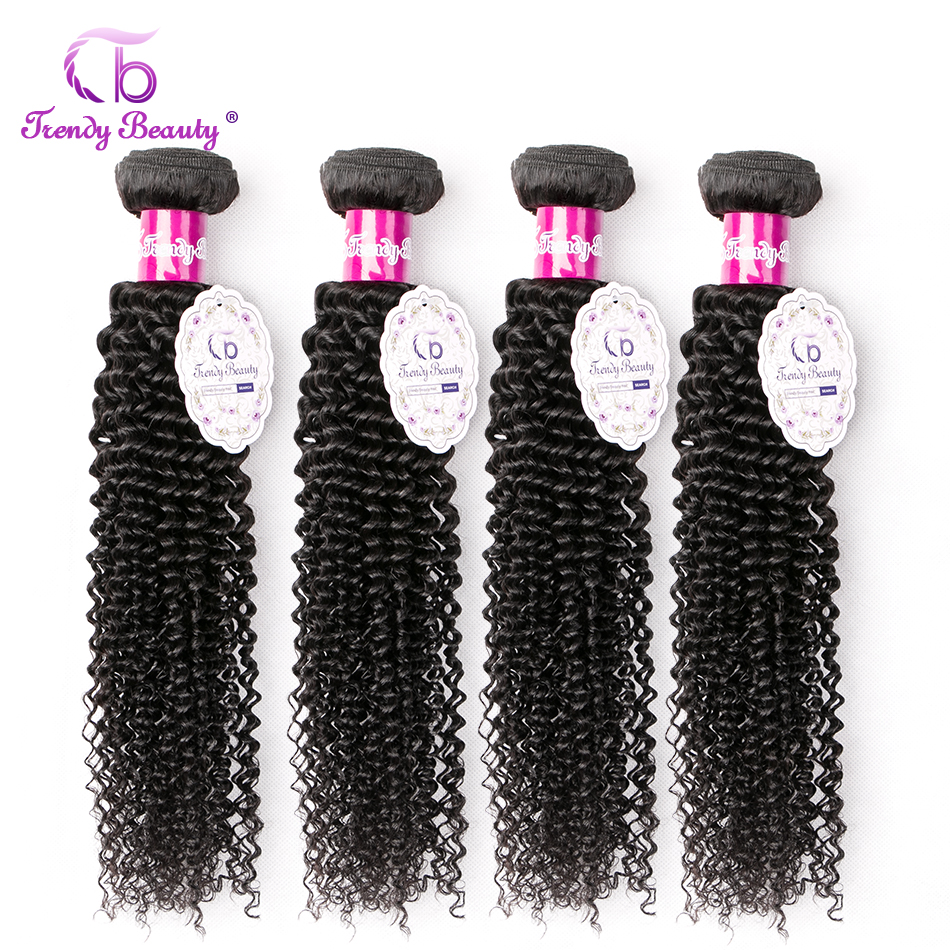 Afro Kinky Curly Brazilian Human Hair Bundles Weave 4pc/lot Color #1B Can Be Dye Non Remy Extension Free Ship Trendy Beauty Hair