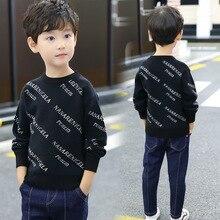 2019 Letter Print Boys Winter Sweater Kids Warm Pullovers Plush Inside Knitted Sweaters Children Velvet Jacket