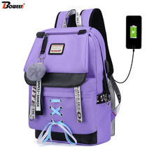 Big Purple USB Backpack for Girls School Backpack Women Teenage School Bag Canvas Middle Junior High College Student Bagpack New