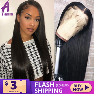Straight Lace Front Wig 13x4 Peruvian Remy Human Hair Wigs Glueless Front Lace Wig For Black Women Pre Plucked Bleached Knots(China)