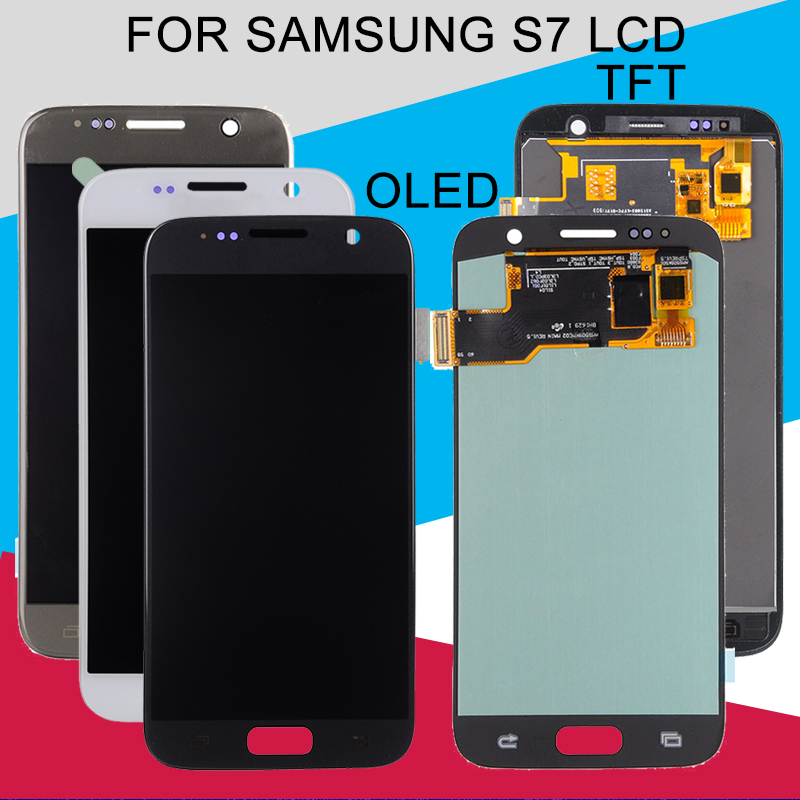 Catteny 1 pièces S7 Affichage Pour Samsung Galaxy S7 LCD G930FD G930S G930L G930F G930 D'assemblée de convertisseur analogique-Numérique D'écran Tactile d'affichage à cristaux liquides de Livraison Gratuite