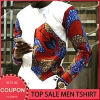 Männer Mode Druck Spleißen T-shirt Afrikanische Kleidung Für Männer Top Beiläufige Dünne Dashiki Shirts Mid-länge Langarm tops 2021 Neue