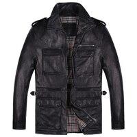 New Mens Sheepskin Jacket Mid Length Leather Coat Black Motorcycle Jacket Hunting Leather Jacket Multi Pocket Design Outerwear