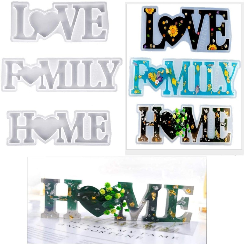 DIY Alphabet Mold Silicone Resin Crystal Glue Molds Love Home Family Letter Shape Ornaments Home Bedroom Living Room Decoration
