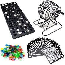 Máquina de bingo portátil durável reutilizável amigo festa em casa entretenimento jogo mesa quebra-cabeça festa sorte desenhar jogo bingo bola conjunto