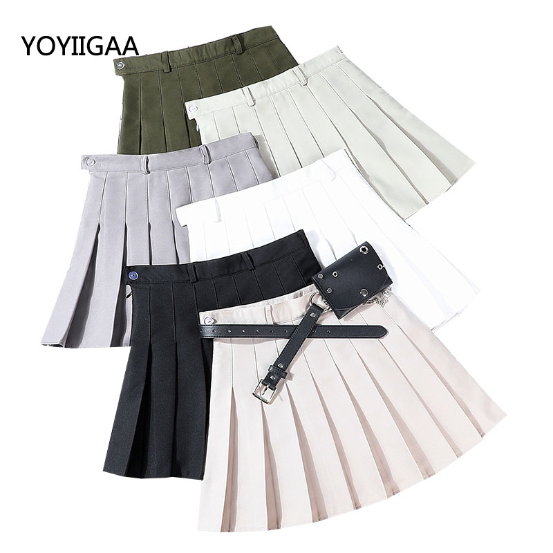 Summer Women Skirts Solid Pleated Mini Skirt Casual High Waist Ladies Skirts Sashes With Pocket Fashion A-line Women Sexy Skirt