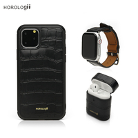 Horologii Personalized Gift Black Croco Pattern Leather Phone Case for Iphone 11 Pro max and band for Apple Watch dropship