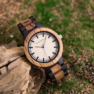 Image 2 - BOBO ptak męskie zegarki Top marka luksusowe heban drewniane zegarek kwarcowy zegarek dla miłośników prezent na rocznicę relojes mujer