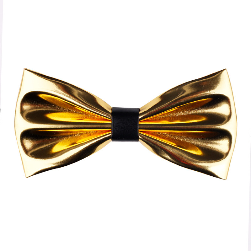 New Fashion Ultra Bright Gold  Bow Ties Pu Leather Night Shop Stage Host Groom Necktie Bowtie For Men Accessories 2019