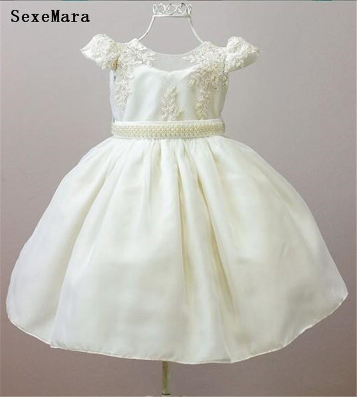 SexeMara ivory white infant gown lace pearls baby   girls   birthday clothes kids formal wear   flower     girl     dress   custom made