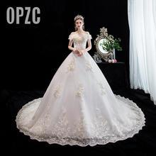 Модное Элегантное кружевное свадебное платье с вырезом лодочкой, новинка, Новое поступление, с открытыми плечами, со шлейфом, аппликация, принцесса, Брида, настоящая фотография на заказ