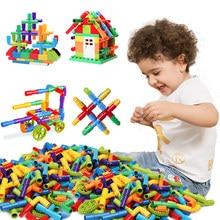 Su borusu oyuncak inşaat blokları DIY boru hattı tünel inşaat aydınlatıcı eğitim STEM montaj oyuncaklar çocuklar için hediye
