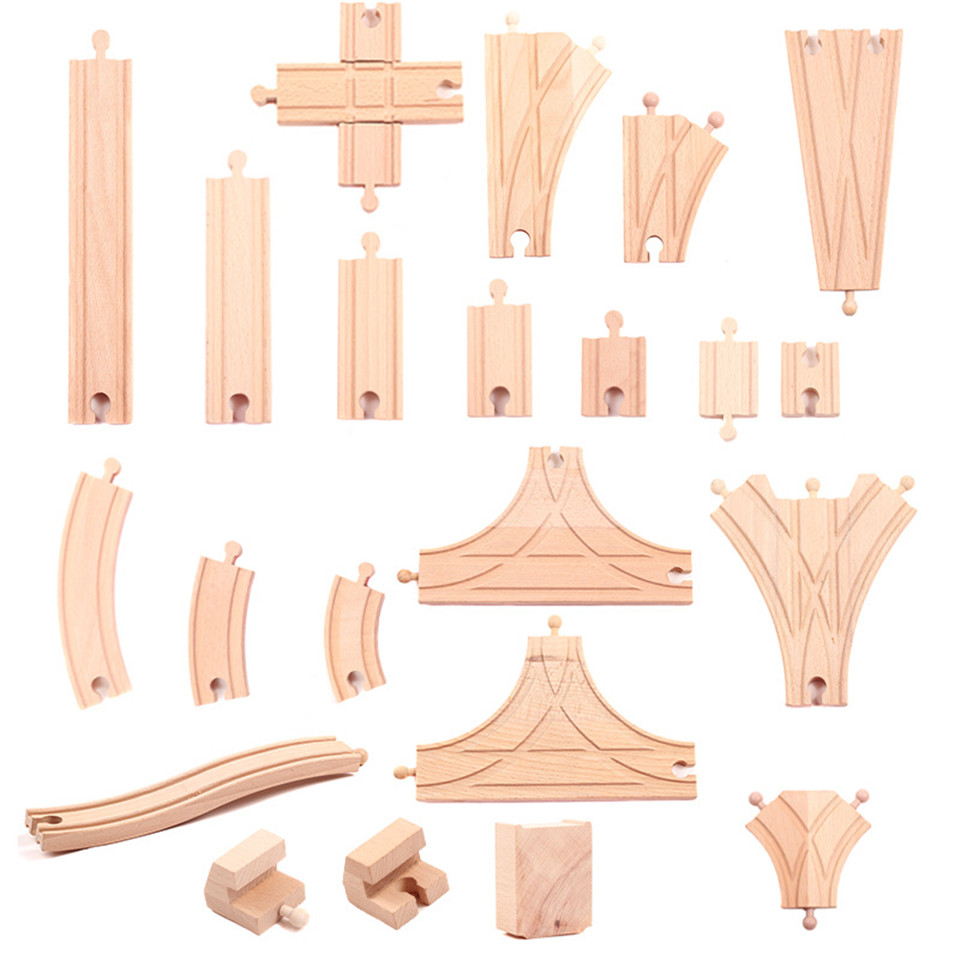 Wooden Scene Track Accessories Bridge A X Rail / Y Rail / Double Crossing Track Fit For Brio Wooden Train Boy/ Kids Toy