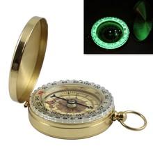 Nowy odkryty Camping piesze wycieczki kompas przenośny kieszonkowy mosiężne złote kolor miedzi kompas nawigacji z wyświetlaczem Noctilucence tanie tanio Wiszące pierścień typu Other Wskaźnik Wskazując przewodnik Product straight 50mm thickness 16mm SYZ741 HIKE