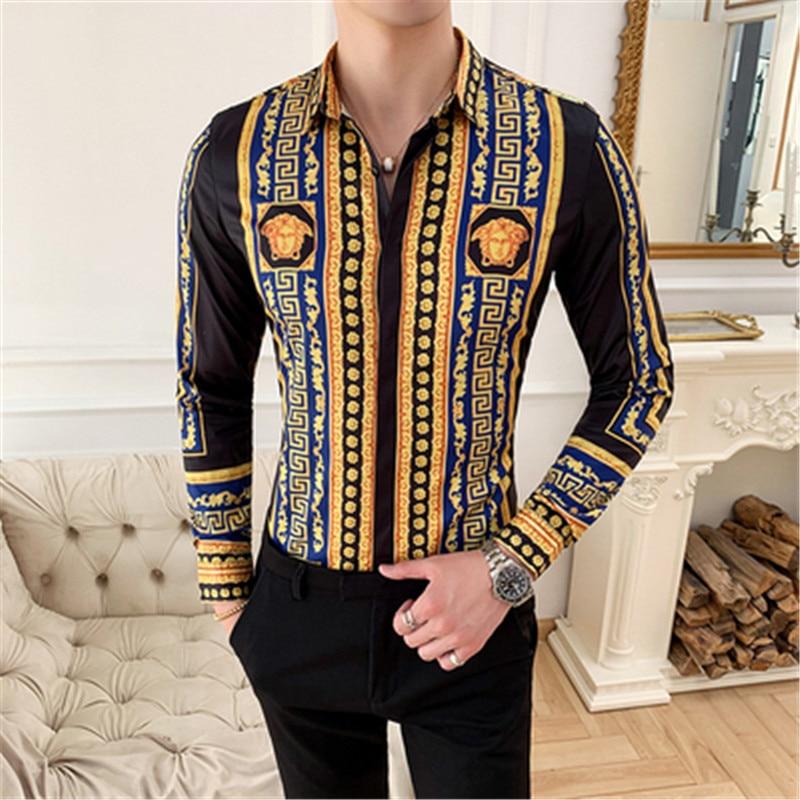 Luxury Print Men Shirt Long Sleeve Vintage Gold Baroque Designer Shirts Men Dress Streetwear Camisa Feminina 2020 Camicie Uomo