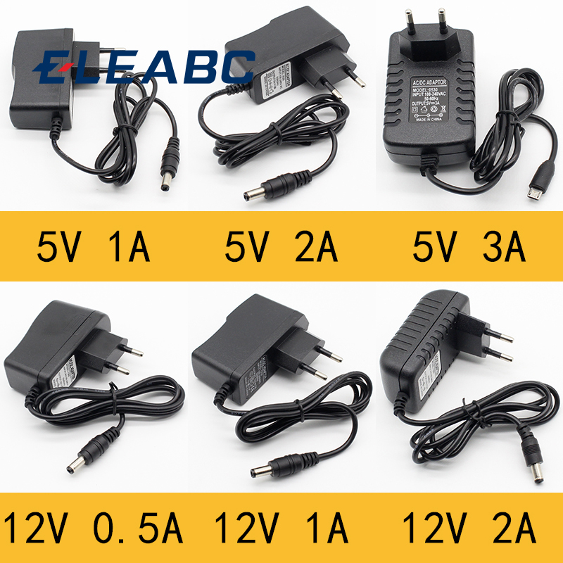 1pcs 100-240V AC to DC <font><b>Power</b></font> <font><b>Adapter</b></font> Supply Charger <font><b>adapter</b></font> <font><b>5V</b></font> 12V 1A 2A 0.5A EU Plug 5.5mm x 2.5mm/5v3aDC Plug Micro USB image
