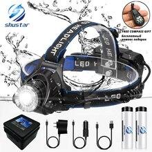 LED Headlamp Light-Powered Fishing-Headlight 2x18650-Batteries Waterproof Super-Bright