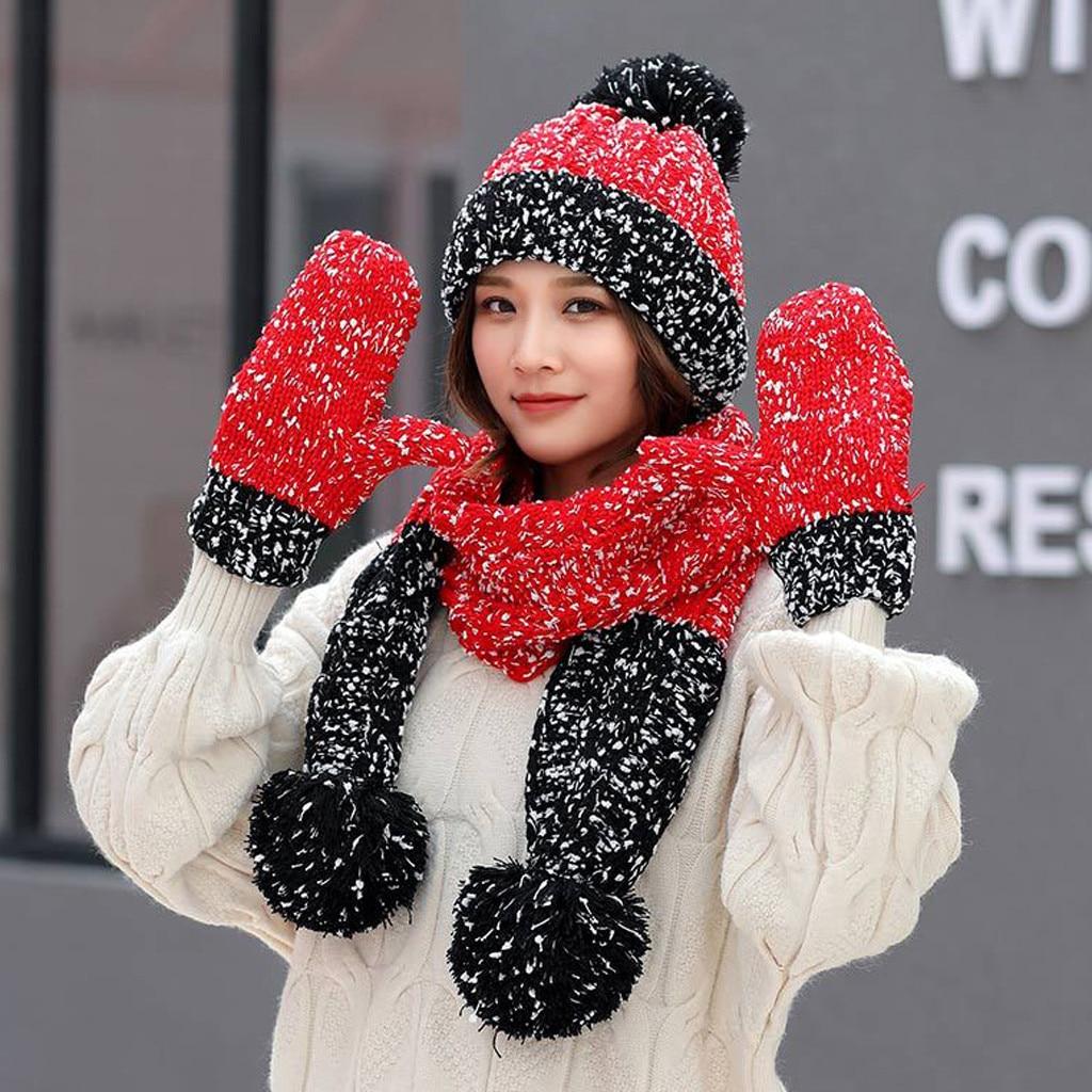 3Pcs Women Winter Warm Multicolor Knitted Venonat Beanie Hat+Scarf+Gloves Set
