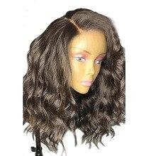 Perruque Lace Front Wig naturelle Remy, cheveux brésiliens noirs ondulés, coupe courte, avec Baby Hair
