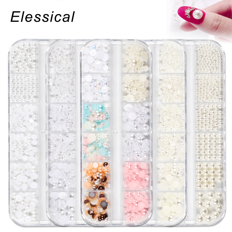 12 Grids Pearl Nail decoration Manicure Rhinestones Design Nail art 3d Stone Parts Halloween Acessories Nail Jewelry Charms Set