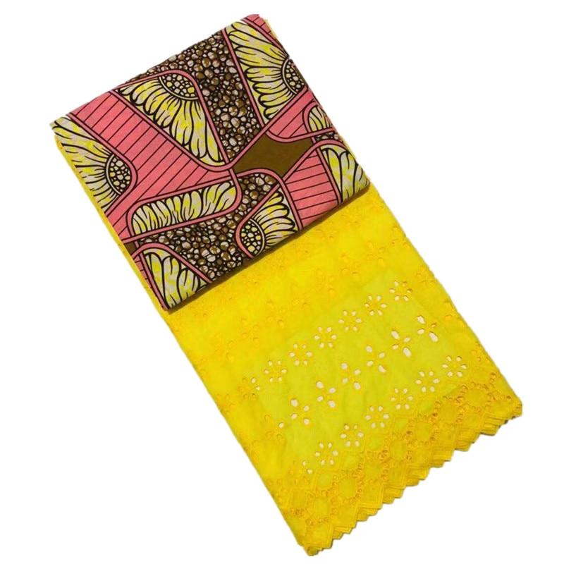 En gros! Tissu de cire hollandaise de cire de coton africain de 3 Yards + 2.5Yards tissu de dentelle de Voile suisse brodé bleu nouveau Design de fleurs