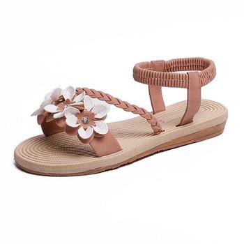 Summer Shoes Woman Sandals Elastic ankle strap Flat Sandalias Mujer 2019 Flowers Gladiator Beach Sandals Ladies Flip Flops 6