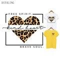 Leopard Herz Patch Mutig Seele Thermische Aufkleber Auf Kleidung DIY T-Shirt Mantel Freies Geist Mädchen Wärme Transfer Vinyl Bügeln Patches