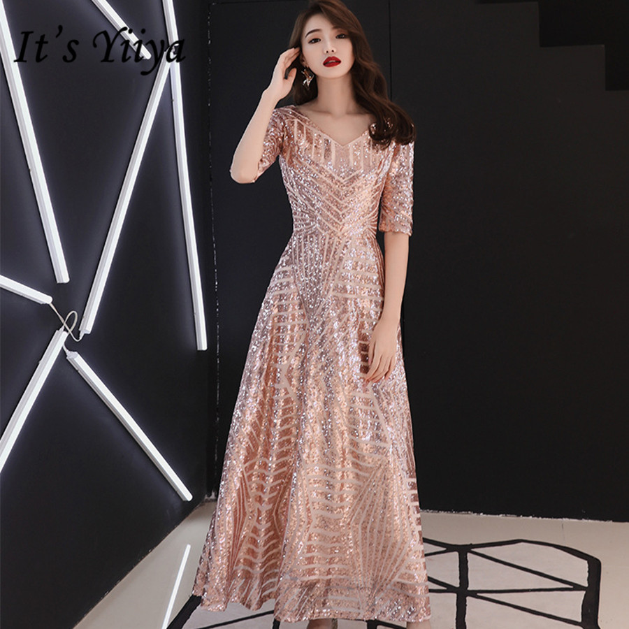 It's Yiiya Evening Dresses Plus Size V-neck Half Sleeve Formal Dress For Women Sequins Ankle -Length Robe De Soiree 2020 E1405
