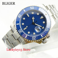 Nologo Blue Men's Watch Stainless Steel Wristwatch 40mm Sapphire Glass Automatic Movement|Mechanical Watches| |  -