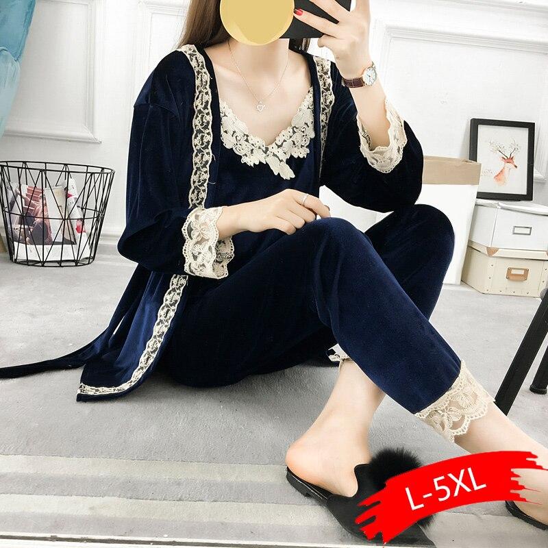 5XL Autumn Winter Female Three Pieces Pajamas Sets Velvet Lace Patchwork Floral Velvet High Quality Nighties Bathrobe Plus Size