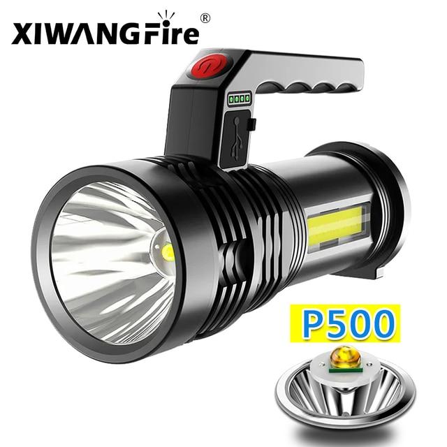 Portable Powerful LED Flashlight Portable Mini Searchlight P500 Torch USB Rechargeable Waterproof Spotlight for Fishing Lantern 1