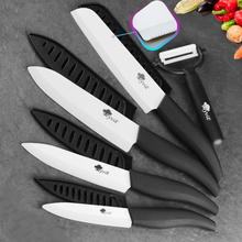 Ceramic Knife White Blade Zirconia 3 4 5 inch + 6 inch Kitchen Serrated Bread Knife + Peeler Set Chef Cooking Fruit Knife xs410 d9 4 chic ceramic knife black white
