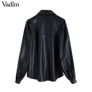 Image 2 - Vadim frauen stilvolle PU leder blusen langarm drehen unten kragen shirts weibliche büro tragen grundlegende tops blusas LB722